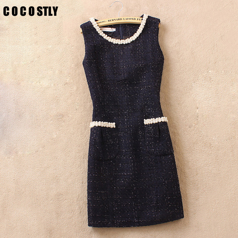 COCOSTLY Brand Winter Tweed Dress Ladies Wool Blend Sleeveless Casual Woolen Vest Dress Slim Fit Elegant Office Dress Plus Size
