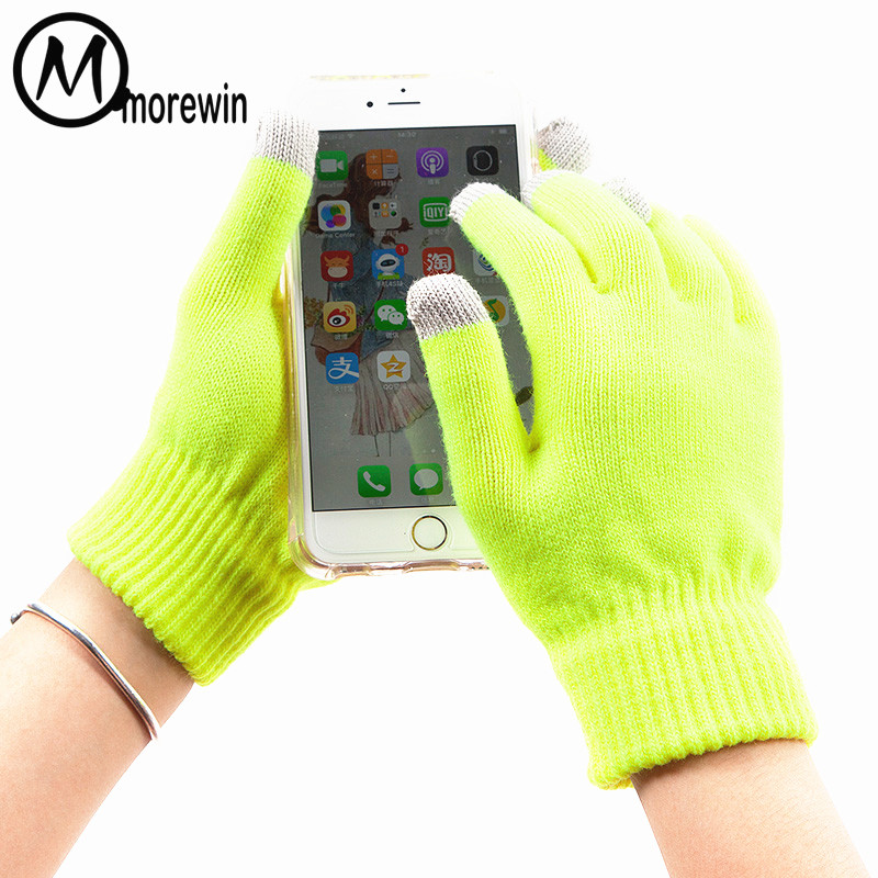 Morewin Women&Men Touch Screen Gloves Knitted Solid Driving Gloves Men Texting Mittens New Touch Screen Women Fashion Mittens