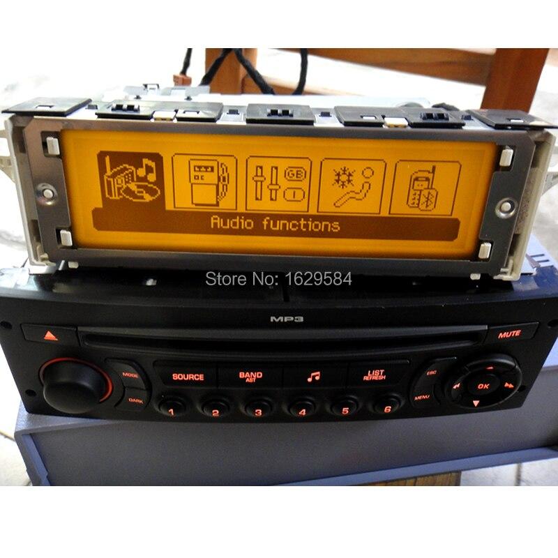 Moniteur de voiture Support USB 2-zone air Bluetooth Affichage moniteur 12 broches pour Peugeot 307 407 408 pour citroen C4 C5 écran jaune