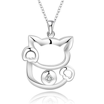 tiger totem free shipping promotion copper silver color fashion Fine jewelry Cute fortune cat necklaces pendants women accessory