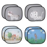 2Pcs Cute Cartoon Car Styling Curtain Anti Universal Car Window Baby Sun Shades Blocks Harmful UV