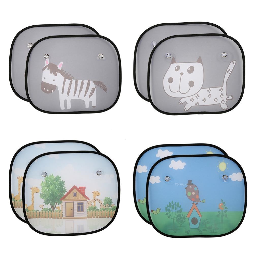 2Pcs Cute Cartoon Car Styling Curtain Anti Universal Car Window Baby Sun Shades Blocks Harmful UV Rays Sun Curtain Suction wave stripe design sun shading blackout curtain