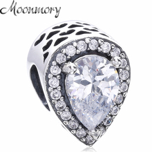 Moonmory Teardrop Shape 925 Sterling Silver Bead Charm With Clear Zircon Fit Pandora Bracelet DIY Jewelry Making Accessory