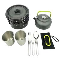 1 Set Outdoor Pots Pans Camping Cookware Picnic Cooking Set Non stick Tableware With Foldable Spoon Fork Knife Kettle Cup