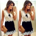 2016 New women Black and white lace dress ladies sleeveless vintage dresses casual mini Bow dress