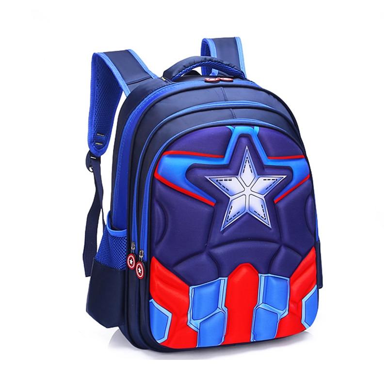 Kindergarten Backpack Schoolbag Captain-America Girls Kids Children Infantil Boys