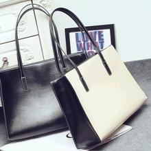 Frauen handtasche 2016 einkaufstasche kurze große taschen einkaufstasche farbblock handtasche casual umhängetasche