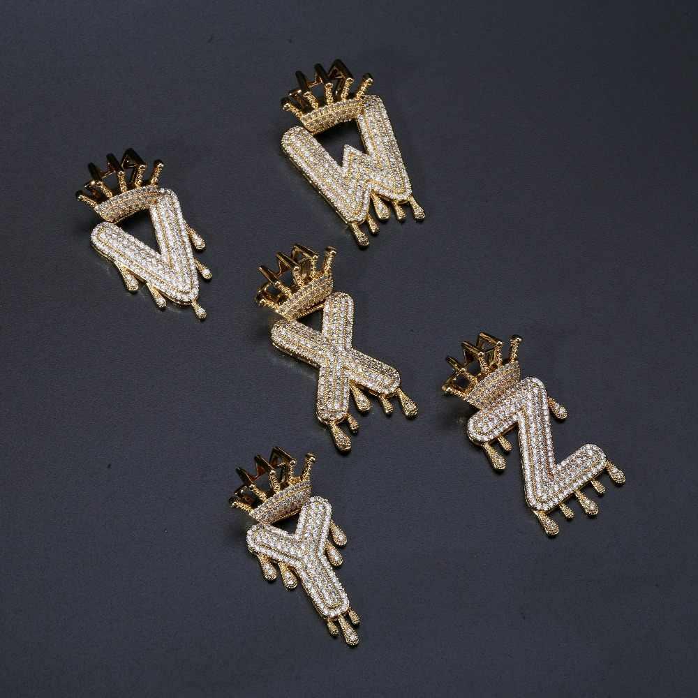 Niestandardowe A-Z początkowej Bubble list nazwa korona kroplówki litery wisiorek naszyjniki mężczyźni kobiety złoto srebro kolor CZ Hip Hop biżuteria prezenty