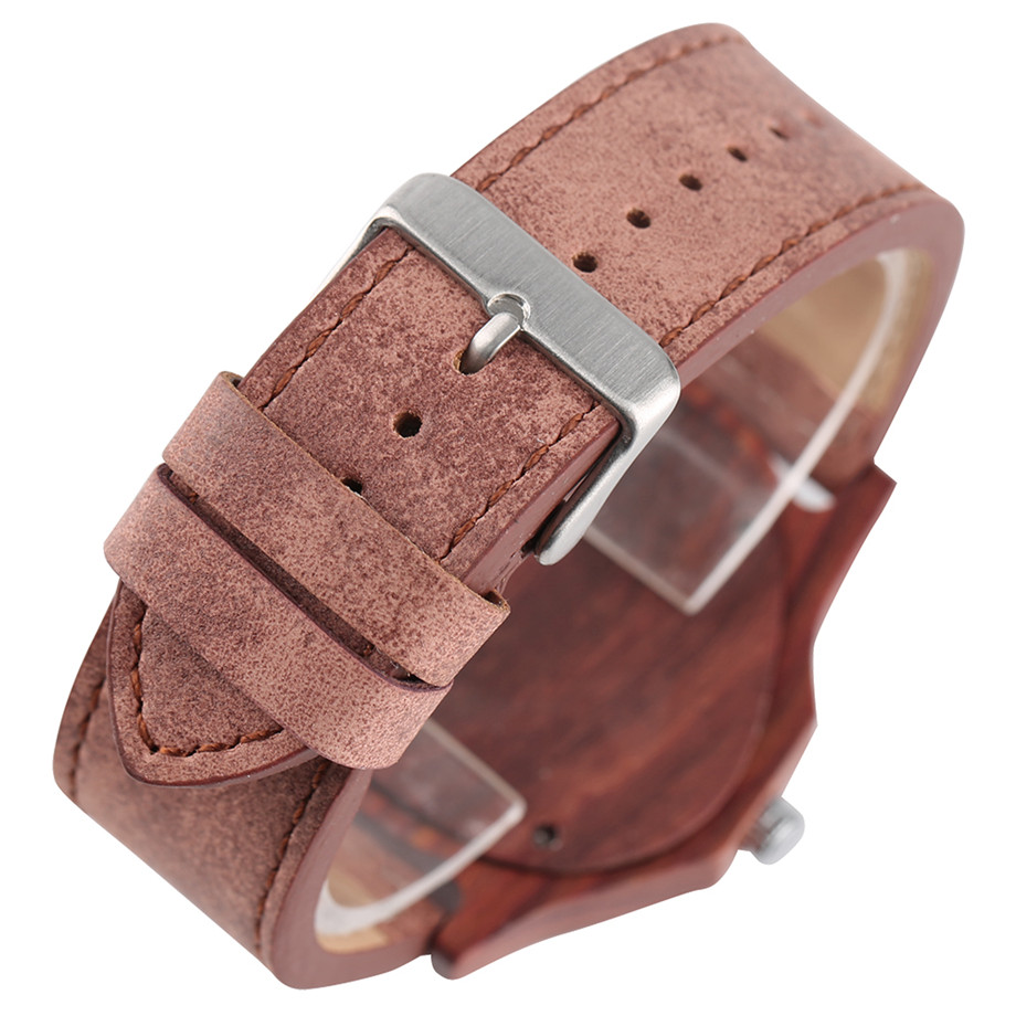 genuine leather band pink buckle quartz red sandalwood watches04