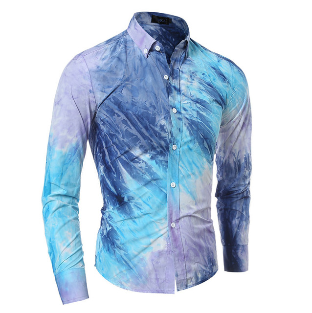 New  Fashion Men Dress Shirts High quality Long Sleeve Men Shirt Slim Fit Men's Clothing Chemise Homme ink Printed