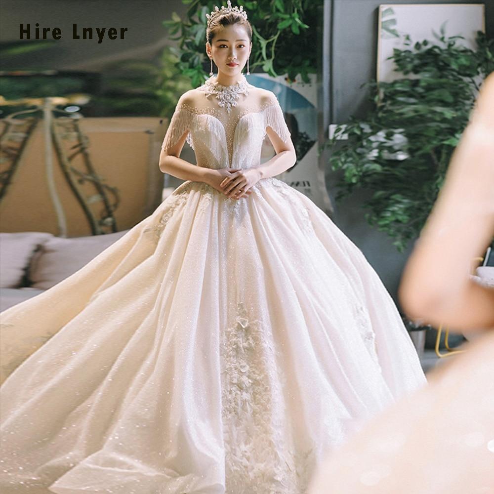 Robe De Mariee Princesse De Luxe 2019 Custom Made Open Back Beading Appliques Flowers Tassel Princess Ball Gown Wedding Dresses