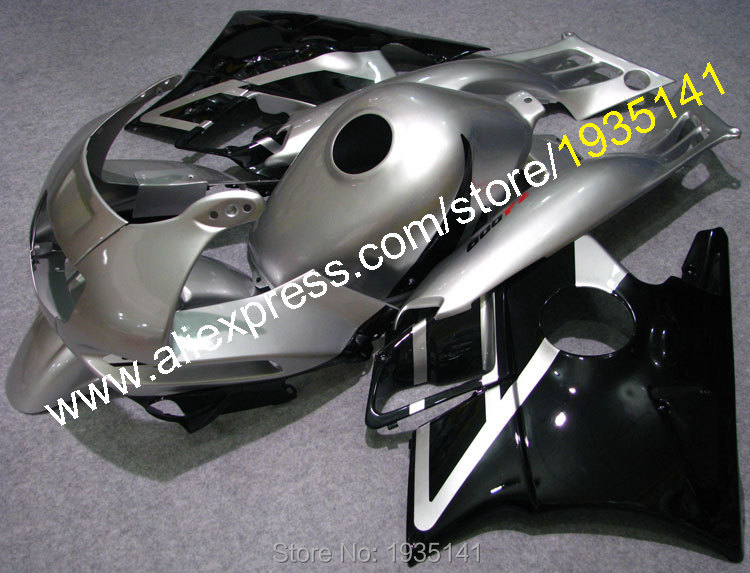 Offres spéciales, Kit carrosserie pour Honda CBR600 F2 1991-1994 CBR 600 F2 91 92 93 94 CBRF2 argent noir ABS jeu de carénages moto en plastique