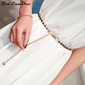 BooLawDee Decorative sweet pearl waist chain belt woman metal for girdle dress thin female fashion style 100cm length 8B005