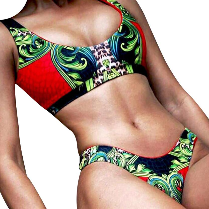 snowshine3 YLI Women Bikini Set Swimwear Push-Up Padded Print Bra Swimsuit Beachwear free shipping