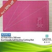 Pink 2 5 Mm Rectangle Self Healing Eco Friendly TPE Cutting Mat A3 45x30 Cm 18x12