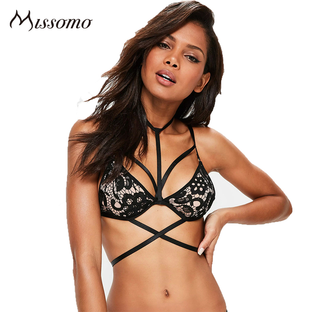 Missomo Women Sexy Solid Color Bralette Criss Cross Front Back Closure Lingerie Hollow Out Adjustable Straps Female Bralette