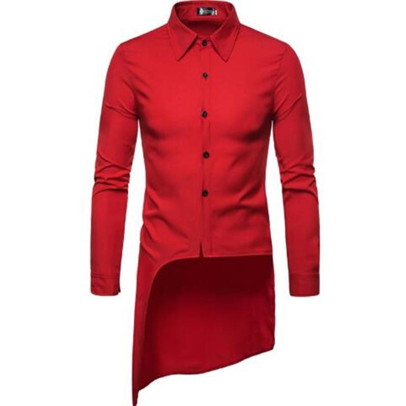 2019 Summer New High-quality Men's Fashion Personality Tailored Long Swingtail Long-sleeve Shirt Men's Casual Shirt