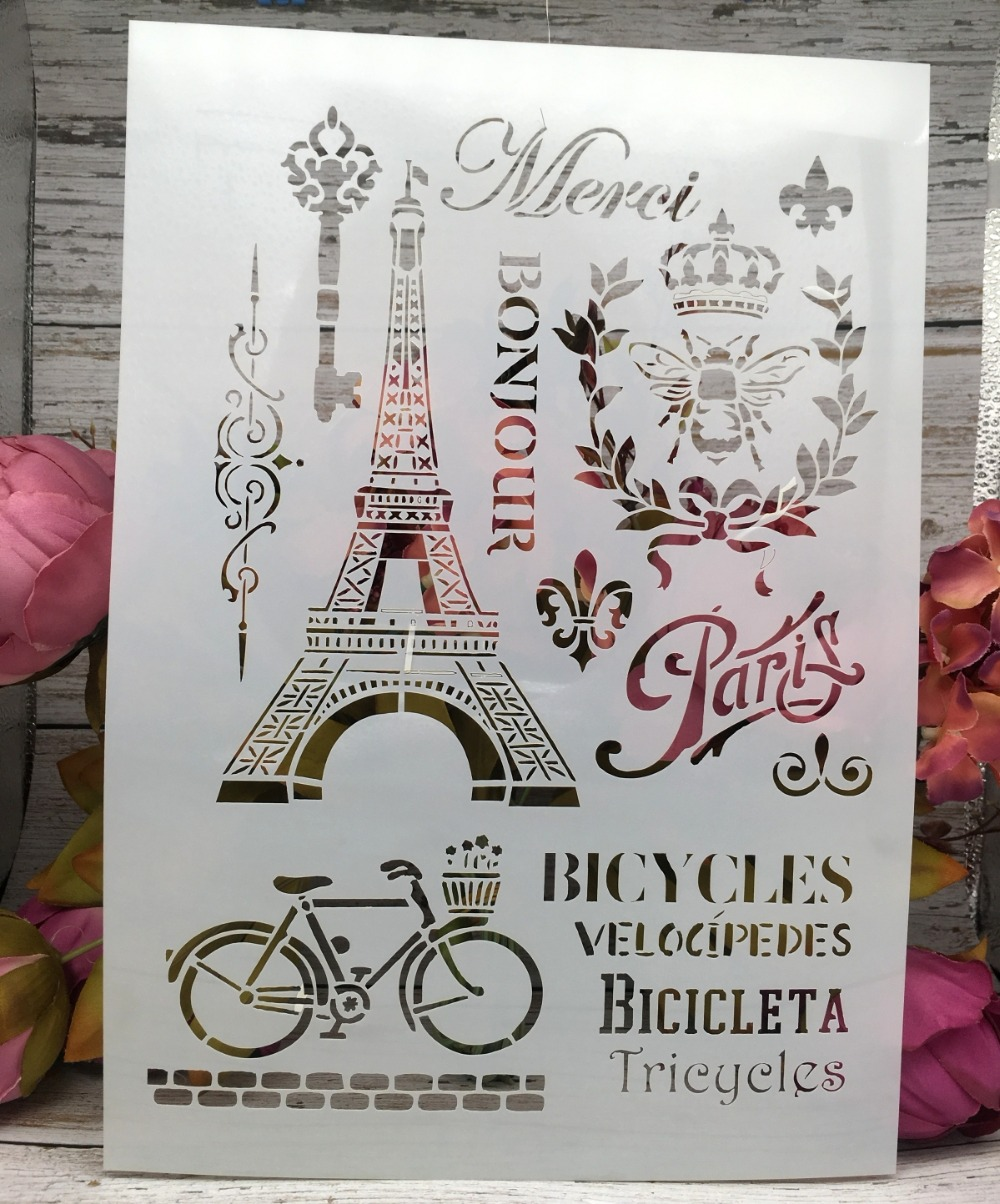 A4 New Paris Tower Bicycle DIY Layering Stencils Wall Painting Scrapbook Coloring Embossing Album Decorative Paper Card Template
