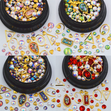 1 pot Mixed style metal Nail Art Decoration Glitter 3D Rhinestones pearls frame nail supplies jewelry beauty Manicure DIY tools