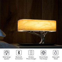 2019 New Fashion Bedside Lamp with Bluetooth Speaker and Wireless Charger Sleep Mode Stepless Dimming home&office