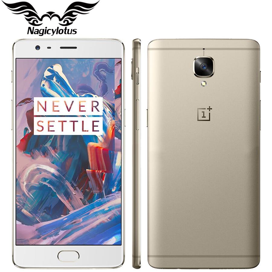 Version originale UE Oneplus 3 A3003 6 GB RAM 64 GB ROM Mobile Téléphone Snapdragon Quad Core 5.5 Android d'empreintes digitales 4G Smartphone