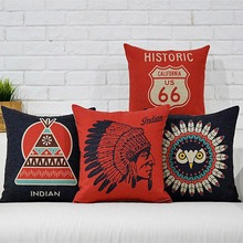 Native American Indian Cushion Cover Pillow Case Linen Indian Owl Throw Pillow Cases Covers Indian Owl teepee tent Home Dector