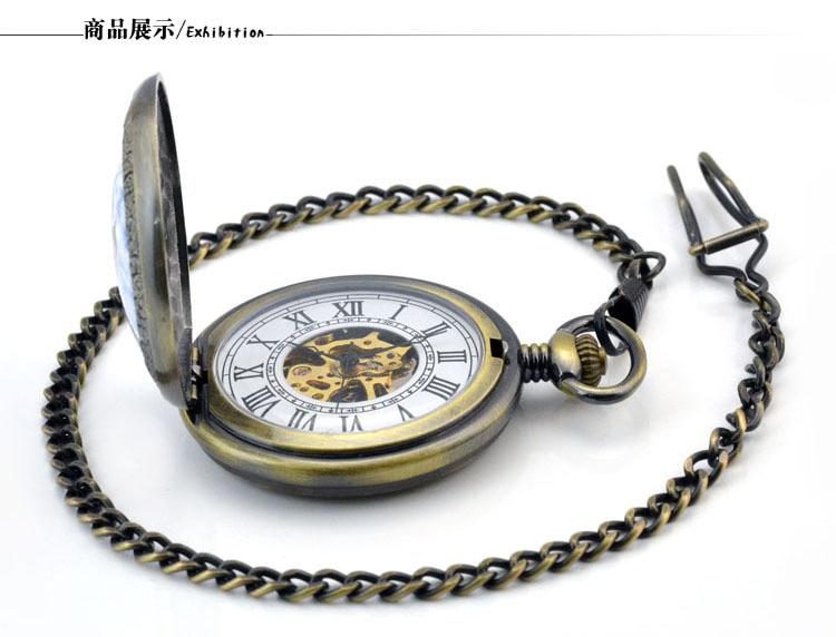 Bolso Mecânico Automático Homens Relógio de Bolso