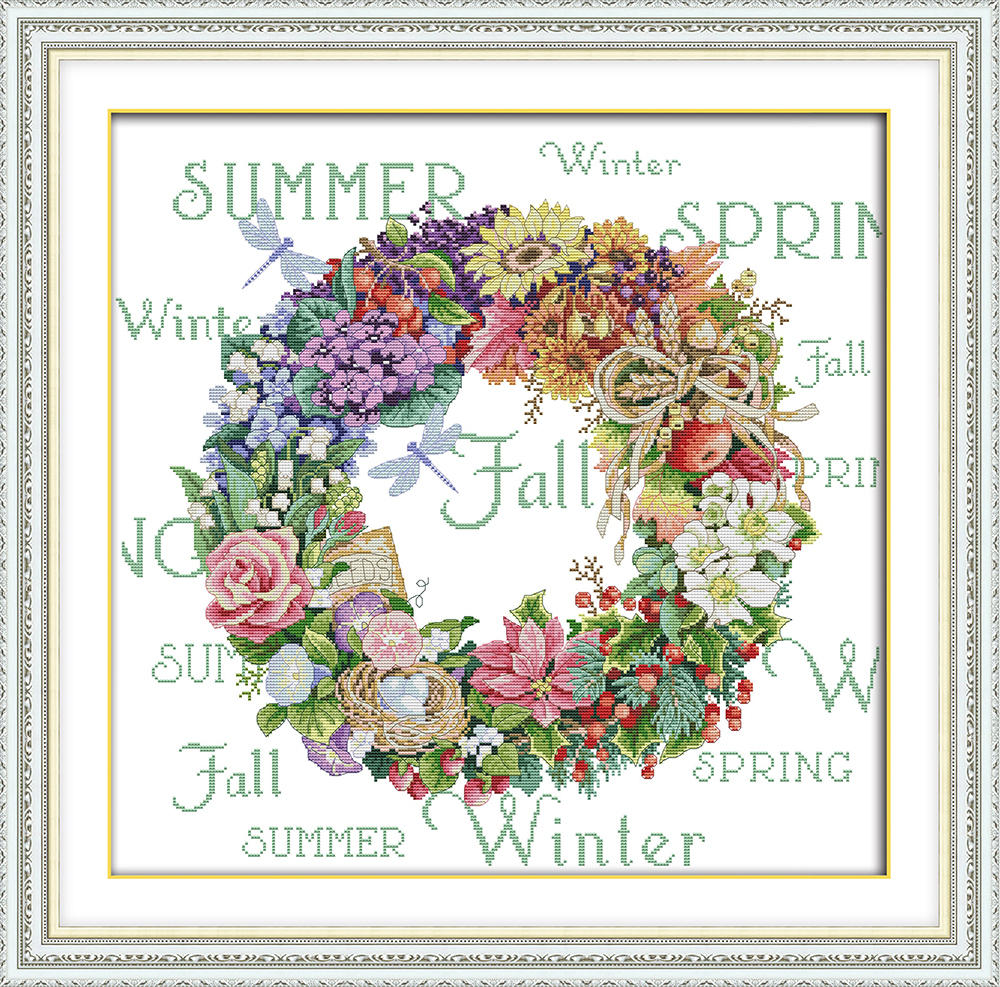 Wreath Of All Seasons (5) Cross Stitch Kit  14ct 11ct Print Canvas Hand Sew Cross-stitching Embroidery DIY Handmade Needlework