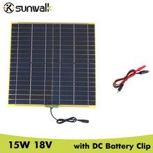 Sunwalk 2 шт. 15 Вт 18 В солнечных батарей Панель с DC Выход крокодил Солнечный Панель для DIY солнечной Системы 12 В автомобиля Батарея 322*322 мм