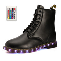 New Brand Men western led shoes lantern high Top light up Black 7 Colors luminous shoes LED glow men USB rechargeable footwear
