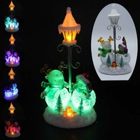 Christmas Decor Collectible Figurines Scene With 7 Colors LED Light Snowmen Deer Street Lamp Battery Operated