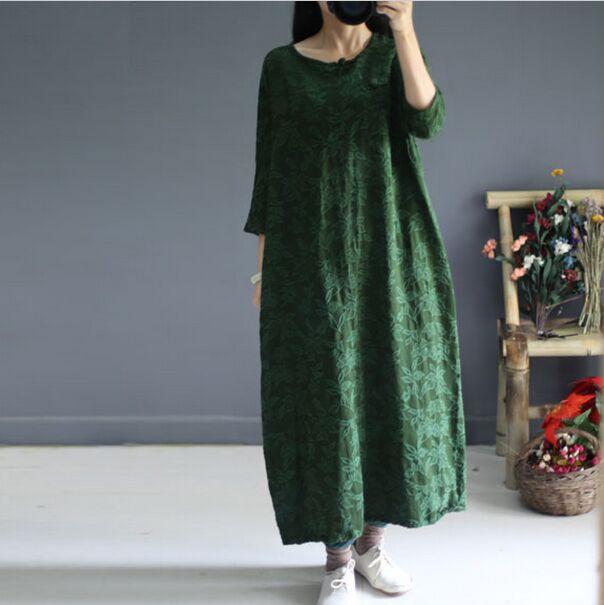 Chanvre Design green Lâche S481 Dark Livraison Robe Coton Red Original rose Green Gratuite Pankou Jacquard Style Nouveau Chinois Simple aCwF8