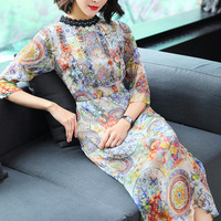Silk Print Chinese Style Slim Pencil Dress 2018 New Brand Runway Women Spring Summer Dress High