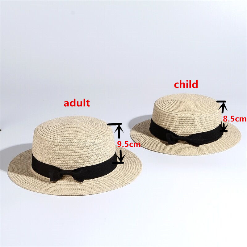 Women boater hat hat Female Summer hats for kids Beach Sun Brand Casual Lady Bowknot Flat Straw Fedora Women Child Cap panama