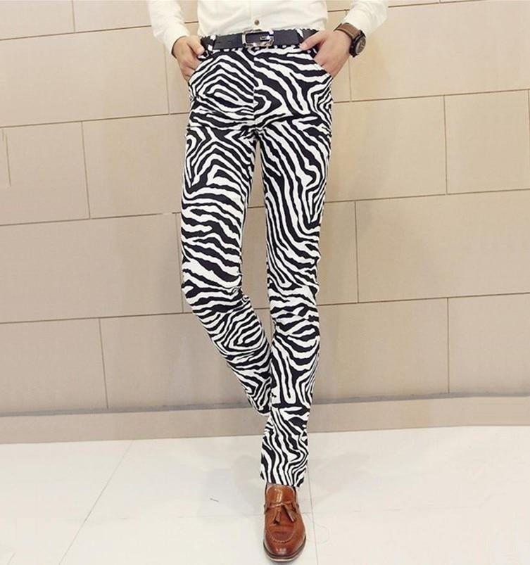 Free Shipping!!! Male Fashion Casual Pants Personality Zebra Print Skinny Pants Trousers Men's Ds Costumes  M--XXL
