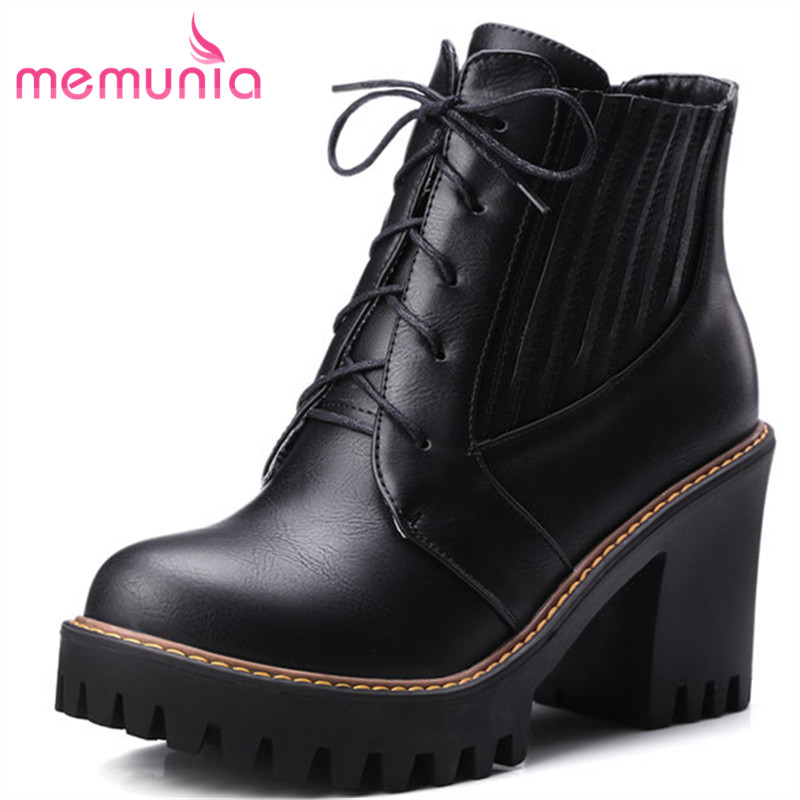 MEMUNIA 2018 new ankle boots platform boots autumn winter fashion lace up high heels women boots big size boots 34-43 2018 new fashion ankle boots autumn winter women boots high heels boots lace up women shoes large size 34 43