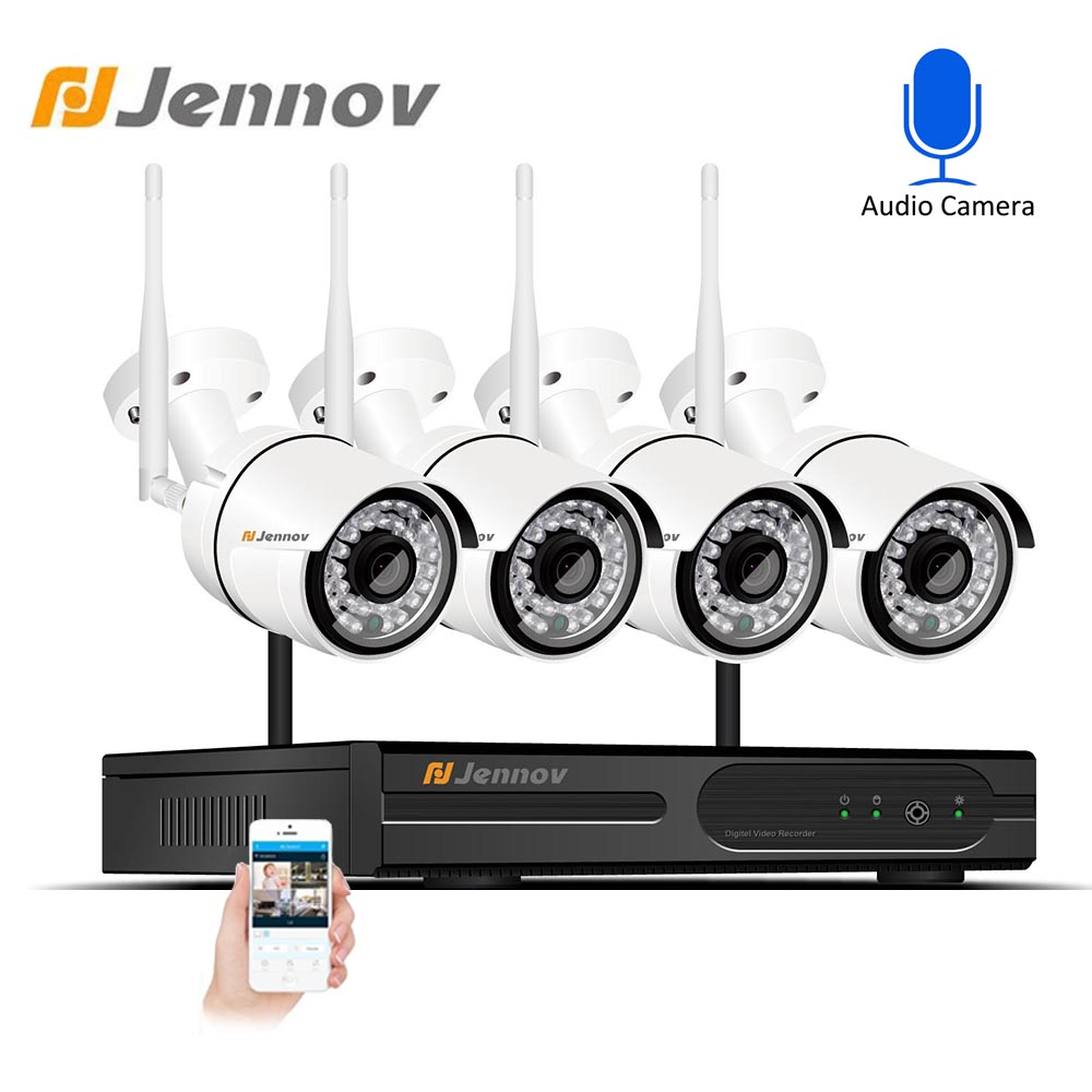 Jennov Home Security Camera System 4ch 1080P CCTV Video Surveillance Camera Kit DVR 2MP Outdoor P2P Weatherproof Night View Set