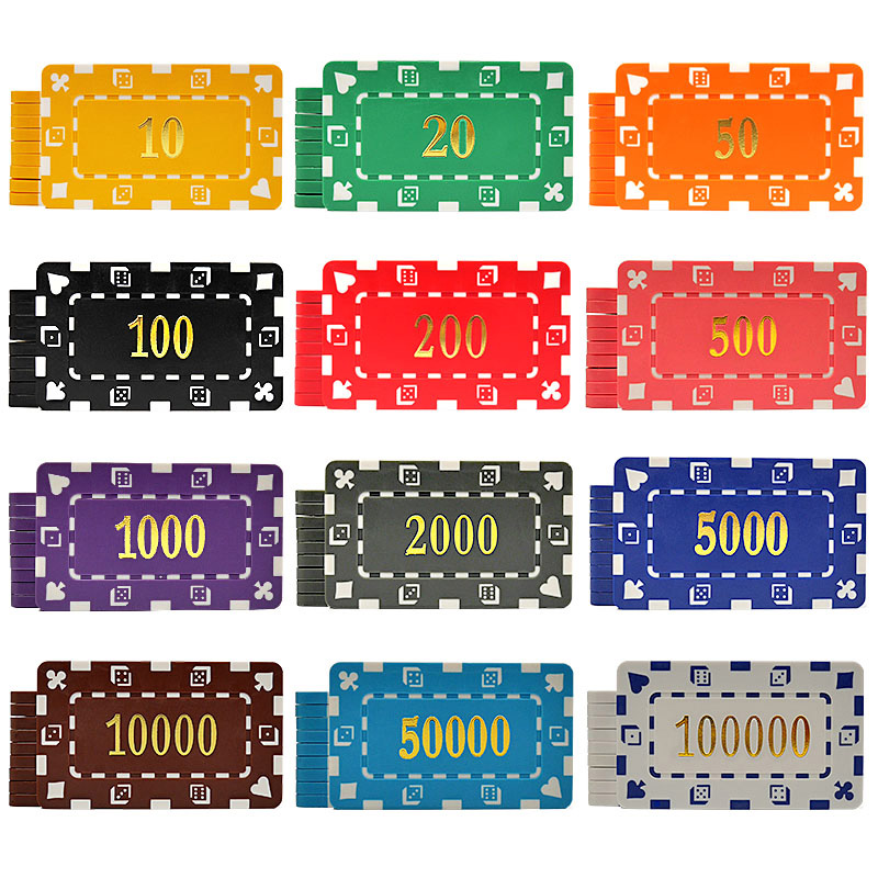 10 PCS/LOT Poker Chips 12 Colors 32g ABS/Iron Bronzing Casino Chips Texas Holdem Poker Wholesale Rectangle Poker Club Chips