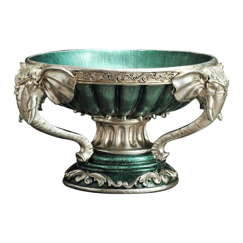 Dipinto di verde ornamenti della resina piatto di frutta piatto di frutta decorazione Arredamento Per La Casa giardino soggiorno tavolino - 5