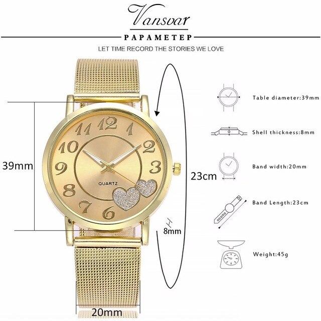 Dropshipping Women Silver & Gold Mesh Love Heart Dial Wristwatches Fashion Casual Women's Steel Quartz Watches Relogio Feminino  5