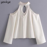 Korean Style Women Sexy Off Shoulder Chiffon Blouse Lady Long Sleeve Halter V Neck Solid Color
