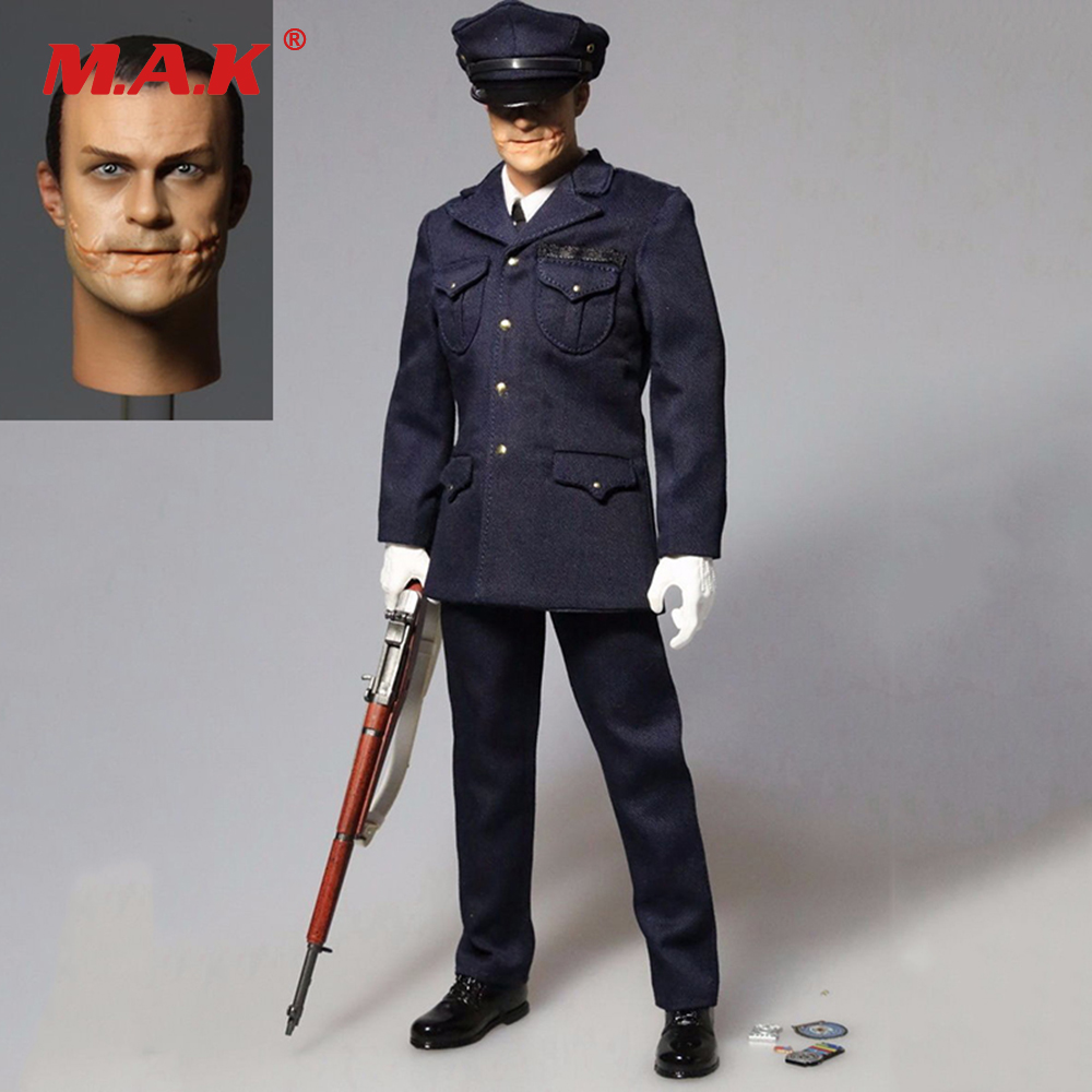 1/6 Scale Police Uniform Clown Batman Joker Head Sculpt +Clothes Suit for 12 inches Figure Body 1 6 scale male clothes suit the game of death bruce lee head sculpt