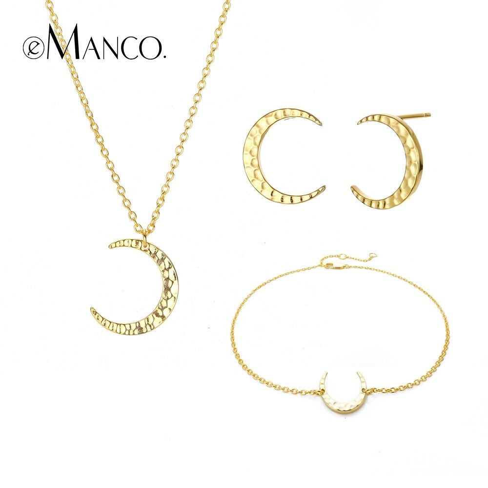 Edler Schmuck E-manco Golden Moon Schmuck Set Für Frauen 925 Sterling Silber Anhänger Halsketten Zwei Farbe Erklärung Armbänder Ohrring Halsketten Durch Wissenschaftlichen Prozess