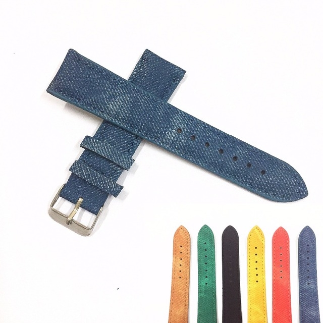 1 PCS Original Luxury Causal 20MM Military Army Denim Fabric Band Watch Band Str