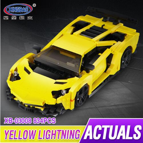 XingBao 03008 Creative MOC Technic Series The Yellow Racing Car Set compare Legoing building blocks Technic brick toys goodbye yellow brick road cd
