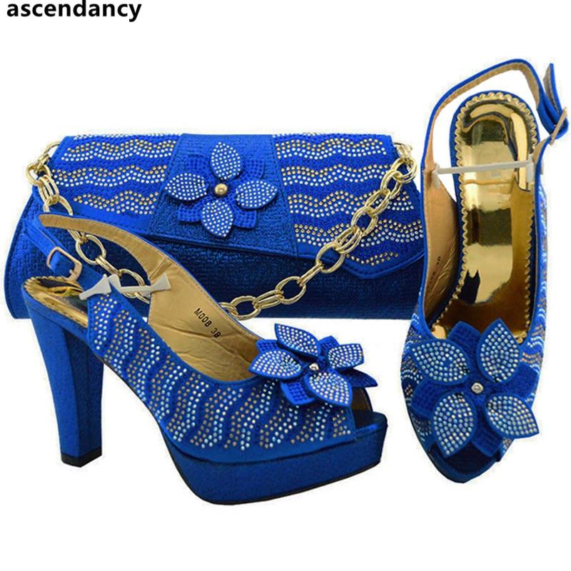 Schwarzes königliches Stein silber Nigerian Party rot Mit fuchsia gold Italien In purpurrot Blau Tasche Dekoriert Schuh Frauen Set Und Sets Hochzeit Nigerianischen Schuhe 1CqRZv6v
