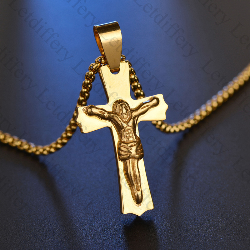 Letdiffery 316L Stainless Steel Gold Cross Necklace Pendant Casting Jesus Piece Necklace Men for Fathers Day Gift