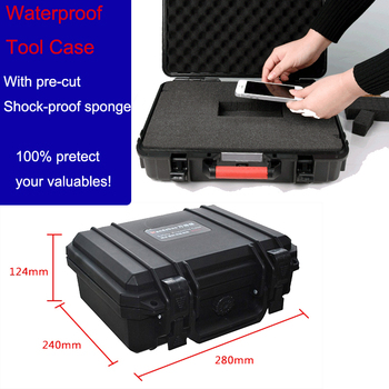 Tool case toolbox Impact resistant sealed waterproof case 280*240*124 mm security tool equipment camera box with pre-cut foam
