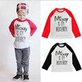 Nueva 2017 Camiseta de Los Niños de Punto de Algodón Tela de Impresión Niñas Hermoso Diseño de La Camiseta Flojos Muchachos Niño de manga Larga Camisetas de 3 Colores