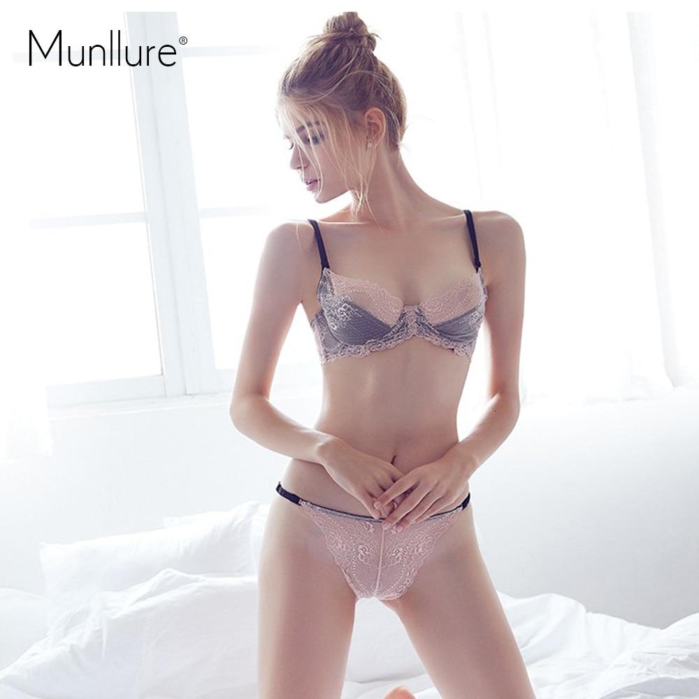 Munllure Spodní prádlo sexy krajkové výšivky podprsenka ultra tenká výřez podprsenka sada gáza tenká dámská spodní prádlo podprsenka sada